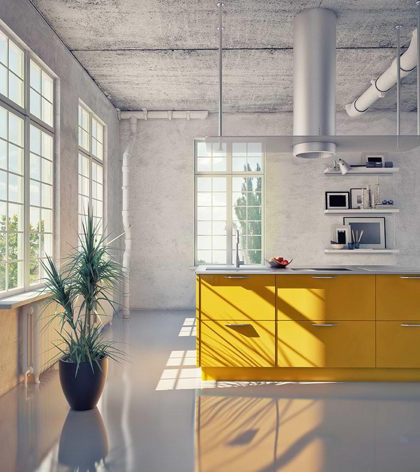 תמונת אוירה ארון מגירות צהוב