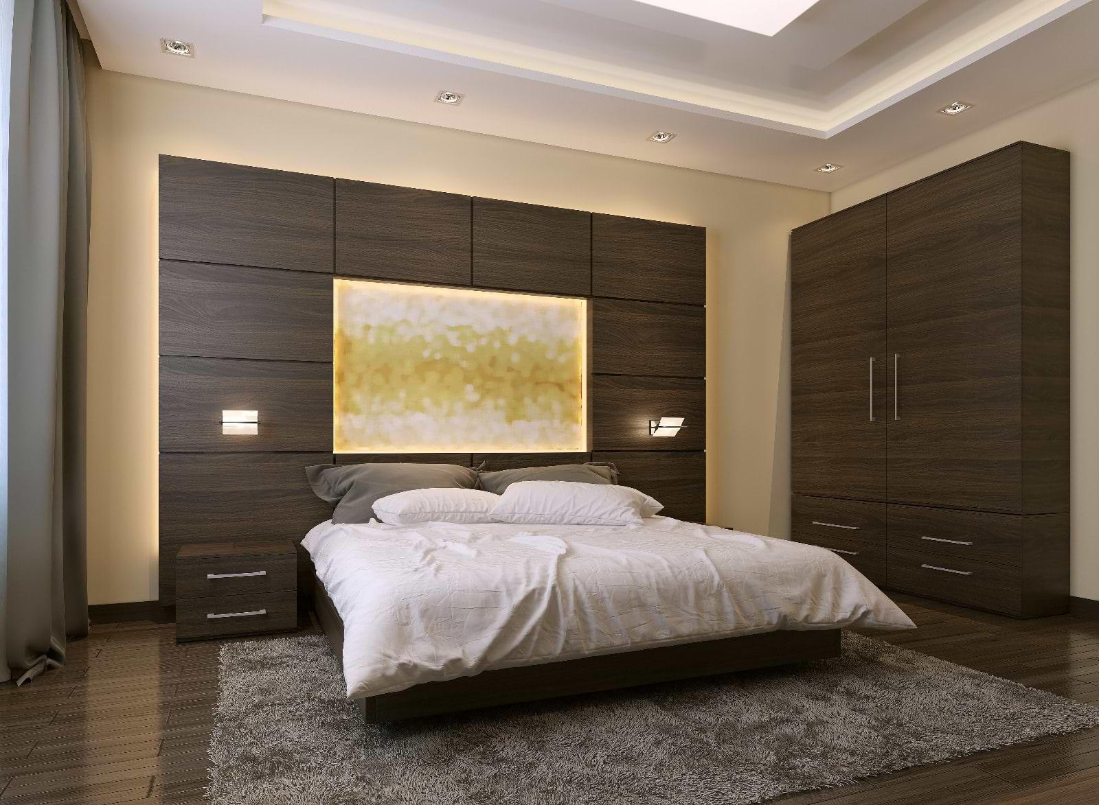 תמונת אוירה חדר שינה ארונות חומים